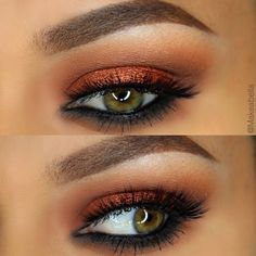 """makeupgeekcosmetics """"Peach Smoothie""""; and """"Chickadee"""" in the crease, and """"Cocoa Bear"""" in inner and outer corners. """"Flame Thrower"""" Foiled eyeshadow on the lid"""