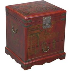 @Overstock.com - Hand-painted Red Bonded Leather End Table Storage Chest - Beautifully decorative end table and storage chest is certain to invigorate your home decor with a touch of the exotic Far EastHandcrafted end table by master artisans in ChinaAccent furniture piece features a sturdy wooden frame  http://www.overstock.com/Home-Garden/Hand-painted-Red-Bonded-Leather-End-Table-Storage-Chest/3260520/product.html?CID=214117 $278.09