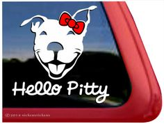 "Hello Pitty - DC281SP1 - Smiling Pit Bull Terrier Window Tablet Decal Sticker - 5"" tall x 5"" wide"