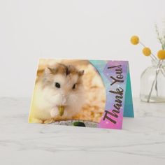 Shop Hammyville - Cute Hamster Thank You created by HammyVille. Personalize it with photos & text or purchase as is! Roborovski Hamster, Hamster Names, Cute Hamsters, Custom Thank You Cards, Cards For Friends, Cheer Up, Congratulations, Greeting Cards, Prints