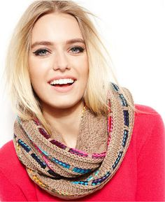 Show your stripes. Colorful mixed stripes lend boho-chic verve to this Steve Madden infinity scarf that adds style and warmth to whatever you're wearing. acrylic/polyester Hand wash Imported Knit design with multi-color stripes Measures approximately 10 inches by 58 inches