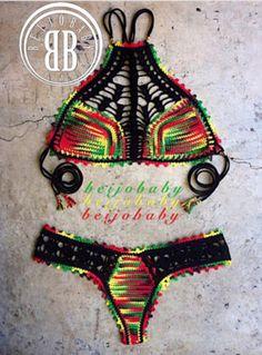 One Love bikini custom crochet bikini