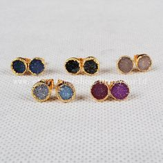 Round Natural Agate Druzy Stud Earrings Gold Plated by Druzyworld