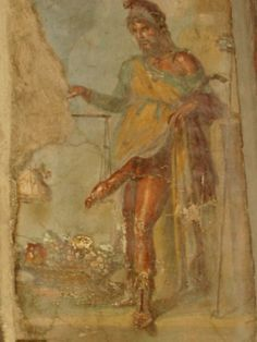 Pompeii: a fresco of the god Priapus weighing his phallus on a scale. The function of Príapus was to propitiate all type of fertility, both vegetal and animal, his grotesque erect phallus, also protected against the evils. Ancient Rome, Ancient Art, Art Romain, Pompeii And Herculaneum, Anti Religion, Roman Art, 1st Century, Greek Art, Bear Art