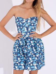 Blue Geometry Print Incognito Skater Dress