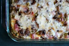 Easy recipe for an Overnight Ham and Cheese Baked Breakfast Casserole. Photographs included