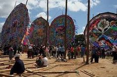Every November the people of Santiago Sacatepéquez , Guatemala celebrate the Day of the Dead by flying giant colorful kites, during the All Saints Day Kite Festival. Tikal, Spanish Holidays, South American Countries, All Saints Day, Hispanic Heritage, Catholic Saints, Central America, Kite, Cemetery
