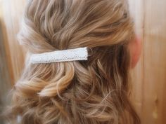 L A C E  Soft Ivory White Floral Lace Ribbon Hair Clip by twistedflowers