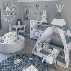 Striped Kids' Teepee Tent A comfortable shelter that will elevate your children's indoor and outdoor experience. Boy Toddler Bedroom, Baby Boy Room Decor, Baby Room Design, Boys Bedroom Decor, Toddler Rooms, Baby Bedroom, Baby Boy Rooms, Nursery Room, Baby Boy Bedroom Ideas