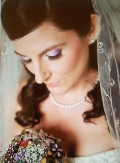 Lavender and purple eye shadow bridal makeup by Philadelphia area makeup artist Jill Suzanne