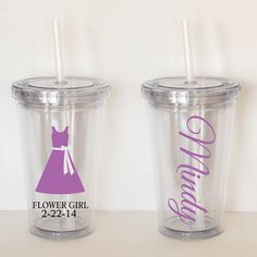 Flower Girl w/ Name Personalized Acrylic Tumbler by SweetSipsters, $12.00