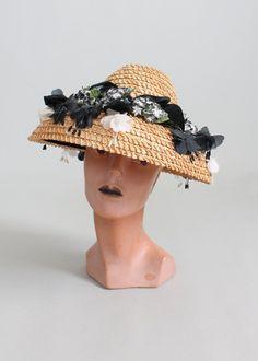 Vintage 1950s Suzy Lee Straw Floral Summer Hat