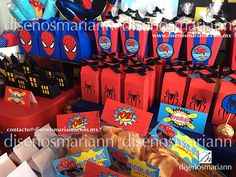 Mesa de dulces Spiderman/Spiderman candy boxes/Spiderman Candy Bar