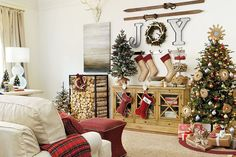 Suzanne Kasler's 2015 Holiday Collection, with plaid accents, rustic wood, and festive decor!