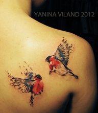 tattoo by Yanina Viland watercolour birds.  Looks like type of winter birds I've seen in Belarus