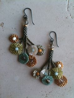 Klimt multi-circle earrings by Jeka Lambert. Seed bead woven. Mother of pearl, smokey quartz, jasper amazonite beads, 24K gold plated beads, glass beads, seed beads.