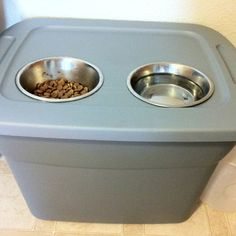 Elevated dog bowl and storage! About $10 to make!! 18 gallon bin from Walmart $4.87! Holds a 40+ bag of dog food! Then $3 each for the bowls. Cut holes in the lid for the bowls and viola! Much cheaper than paying $40 or more for the fancy ones ;)