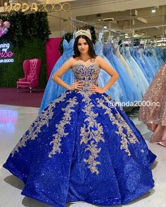 Book you appointment to say yes to your dream dress at Moda2000 👑Instagram: @moda2000inc (714)774-7537 Charro Quinceanera Dresses, Robes Quinceanera, Pretty Quinceanera Dresses, Blue And Gold Dress, Royal Blue Dresses, Royal Blue And Gold, Pink Dress, Sweet 16 Dresses, 15 Dresses