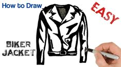 How to Draw Biker Motorcycle Jacket Easy Art Tutorial Easy Art, Simple Art, Motorcycle Jacket, Biker, Easy Drawings For Beginners, Learn To Draw, Art Tutorials, Reflexology, Jackets