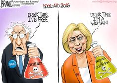 Pick Your Poison, the new flavors of liberal kool-aid 2016 are out via Bernie and Hillary. Political Cartoon by A.F. Branco ©2016.