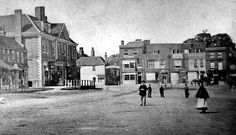 An early photograph of Epsom High Street the Assembly Rooms, with railings around it, on the left. Old Street, Railings, Surrey, Past, Photograph, Street View, Rooms, London, Explore