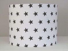 HANDMADE WHITE DARK GREY STAR 25CM 30CM LAMPSHADE LIGHTSHADE BABY NURSERY in Home, Furniture & DIY,Lighting,Lampshades & Lightshades | eBay