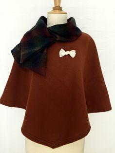 cape femme col croisé noeud laine cachemire liberty mode marron carreaux hiver couture création dentelle