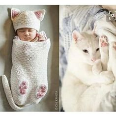 Baby Cat Cocoon Hat & Booties Crochet Pattern by ChiKDesigns Booties Crochet, Diy Tricot Crochet, Chat Crochet, Crochet Baby Cocoon, Crochet Bebe, Crochet For Kids, Baby Booties, Crochet Crafts, Crochet Projects