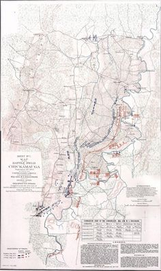 "Sept. 19, 1863: When James wrote this letter, he was camped near Crawfish Spring, in the lower left corner of this map, with the rest of his division, commanded by Maj Gen Jefferson C. Davis. James marched north to the 2nd location for Davis's division, in the center of the map, facing the enemy. ""Map of the Battle-field of Chickamauga, September 19th 1863."" Atlas to Accompany the Official Records of the Union and Confederate Armies. Washington: Government Printing Office, 1891–1895."