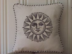 "shabby chic, feed sack, french country, vintage sun graphic with french ticking welting 14"" x 14"" pillow sham."
