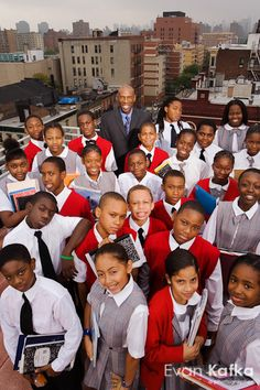 Back in 2005 I photographed Geoffrey Canada of Harlem Children's Zone on the roof of the school, surrounded by 7th graders, for US News & World Report.