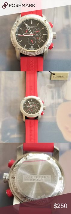 New Burberry Men's Sport Watch BU7706 New Burberry Sport Chronograph Black Dial Red Rubber Mens Watch BU7706 Brand New 100% Authentic  Product specifications Watch Information Brand, Seller, or Collection NameBURBERRY Model numberBU7706 Part NumberBU7706 Item ShapeRound Dial window material typeScratch Resistant Mineral Display TypeAnalog ClaspBuckle Case materialStainless Steel Case diameter44 millimeters Case Thickness14 Band MaterialRubber Band lengthMen's Standart Band…