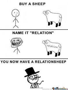 """Buy a sheep, name it """"relation"""" you now have a relationsheep :) ...Kids, it's that easy! #humor #animalhumor #funny"""