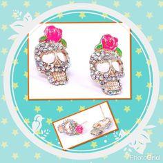 Pink Rose Rhinestone Skeleton Skull Earrings