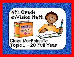 Printables Envision Math 4th Grade Worksheets activities math and summer on pinterest envision 4th grade vocabulary cloze worksheets topics 1 20