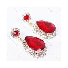 Red Pair of Vintage Faux Ruby Water Drop Earrings ($3.24) ❤ liked on Polyvore featuring jewelry and earrings