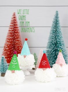 Wee Little Gnome Pom Pom Ornaments! Wee Little Gnome Pom Pom Ornaments! Make these little ornaments for your tree or they would make cute Christmas present toppers! Cute Christmas Presents, Noel Christmas, Diy Christmas Ornaments, Christmas Projects, All Things Christmas, Holiday Crafts, Christmas Decorations, Holiday Decorating, Decorating Ideas