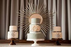 silver modern wedding cake
