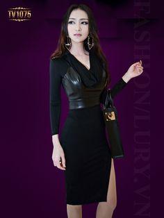 Đầm thiết kế xẻ tà tay phối da cao cấp giúp phái đẹp trở nên sành điệu hơn TV1057; Giá: 2.758.000 VNĐ