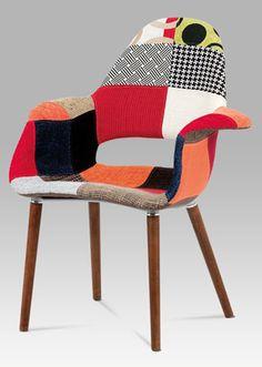 CT-733 PW2  Jídelní židle patchwork / ořech. Retro, Chair, Furniture, Home Decor, Scrappy Quilts, Recliner, Homemade Home Decor, Home Furnishings, Decoration Home