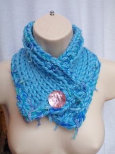 Charlotte Neck warmer with Pink Button by Spasojevich on Etsy, $32.00