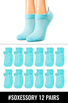 83395407d08 12-pack Women s Turquoise Cotton Low Cut Socks  fashion  clothing  shoes