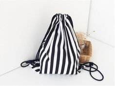 EXCELSIOR 2017 Vintage Stripe Printing Drawstring SackPack Bag Women's Canvas Backpack Bag Beach Travel Bag School Bags G0756