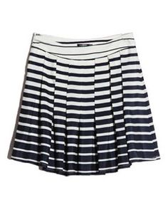 Blue And White Striped Pleated Skirt