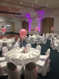 1st birthday with wedding elegance and a little hot pink feature lighting at the lolly buffet!  Baby pink hot air balloons with real basket bases, little balloon sandbags and baby pink chair sashes. Gorgeous venue - Vogue Ballroom, Burwood. Order today at  www.partyflair.com.au