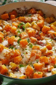 Cheesy Bacon Butternut Squash  - Delish.com
