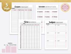 Student Exam Prep Kit Student Study Planner Learning | Etsy Student Planner Printable, Academic Planner, Study Planner, Exam Planner, Student Exam, Student Studying, College Life Hacks, Exam Study, Important Dates