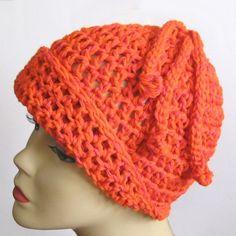 Orange Crochet Cloche Hat Beanie Cap by KnittingGuru
