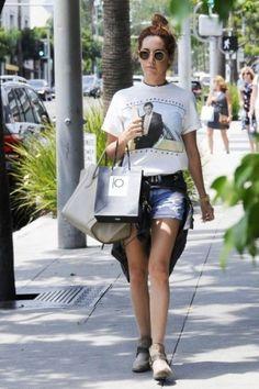 Ashley Tisdale wearing Freebird by Steven Phoenix Low Booties in Grey, Celine Luggage Tote Bag in Dune, Rag & Bone Boyfriend Jean Shorts in Rebel and Vintage 1988 Bruce Springsteen Tunnel of Love T-Shirt