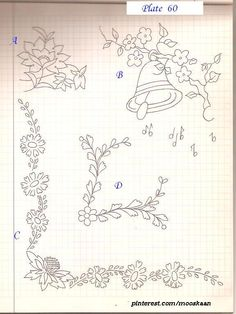 Corner Edgings and Motifs (including a Christmasy bell) embroidery patterns ..... Plate # 60